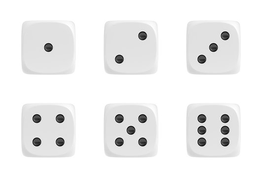3d rendering of a set of six white dice in front view with black dots showing different numbers.