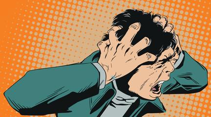 Man screams in horror. Stock illustration.