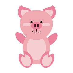 Cute pig cartoon icon vector illustration graphic design