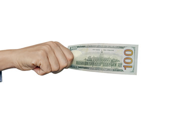 Dollars in a man's hand on a white background
