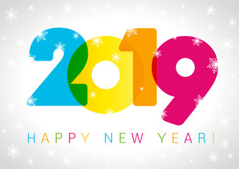 2019 Happy New Year card design. Vector happy new year greeting illustration with colored 2019 numbers and snowflake