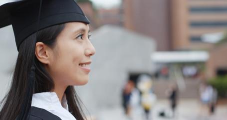 Asian woman get graduation