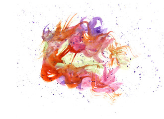 Merging a colorful, abstract forms made of watercolor hand-drawn. For banners ,design, background.