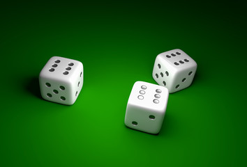 Three dice with number six on green casino background