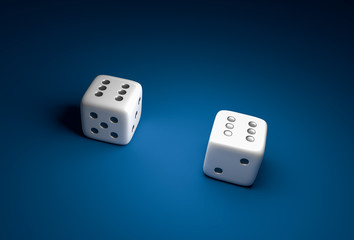Two dice with number six on blue casino background