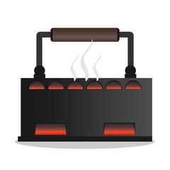 Old iron on coals with smoke. Retro iron icon.