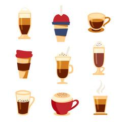 Coffee types icons set, flat style. Beverages menu