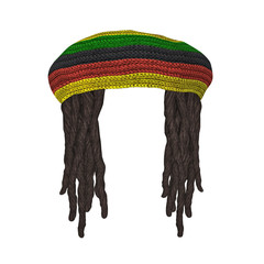 Rastafarians hat with dreadlocks isolated on white