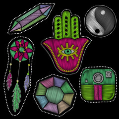 Embroidery set of patch badges with trendy boho elements.