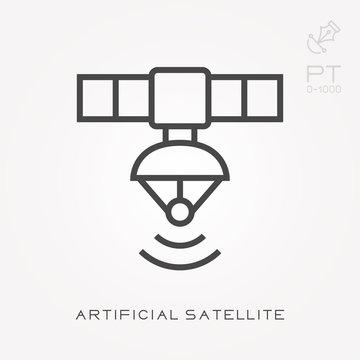 Line icon artificial satellite
