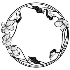 vector round frame with apple flowers