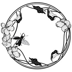 frame with stag-beetle and apple flowers