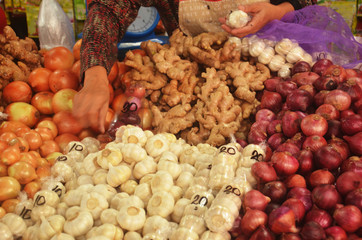 Various spices at the market photo