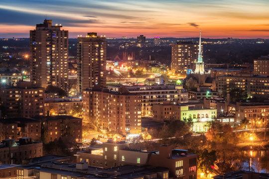 Minneapolis during autumn at sunset