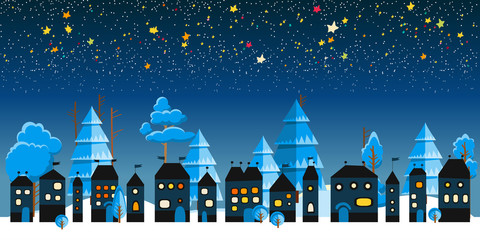 Christmas winter landscape night background