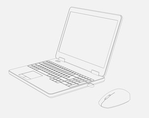 Cad Drawing of Laptop Computor and Mouse White Background