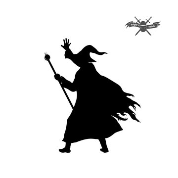 Black silhouette of wizard with hat and staff on white background.Isolated image of fantasy magician. Vector illustration