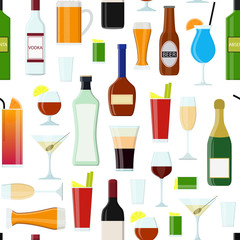 Cartoon Alcoholic Beverages Drink Seamless Pattern Background. Vector