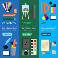 Cartoon Art Banner Vecrtical Set. Vector