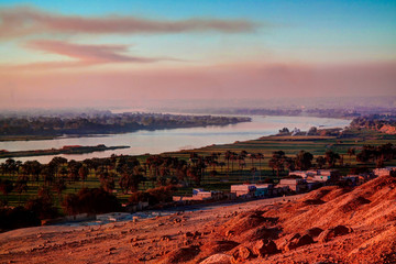 Sunset panorama view to Nile river from Beni Hasan archaeological site, Minya , Egypt