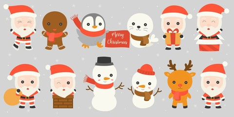 Set of Santa Claus such as in chimney, playing ice skate, holding present box with winter friends , snowman, reindeer, penguin, seal, ginger bread man on snowfall background in flat design