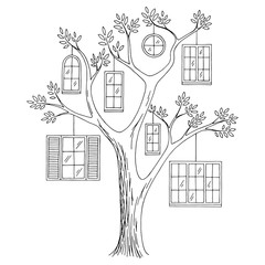 Window tree graphic black white abstract doodle sketch illustration vector