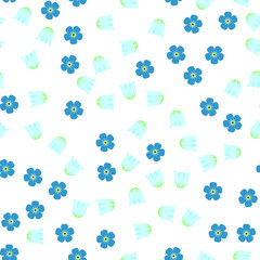 Seamless, lily of the valley, forget-me-not 1-2