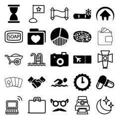 Set of 25 simple filled and outline icons