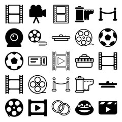 Set of 25 movie filled and outline icons