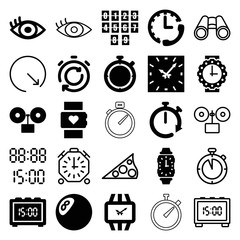 Set of 25 watch filled and outline icons