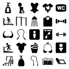 Set of 25 body filled icons