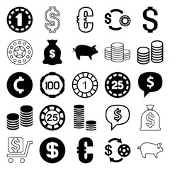 Set of 25 coin filled and outline icons