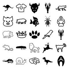 Set of 25 animal filled and outline icons