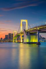 Rainbow Bridge, Tokyo. Cityscape image of Tokyo, Japan with Rainbow Bridge during sunset.