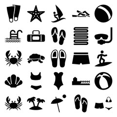Set of 25 beach filled icons