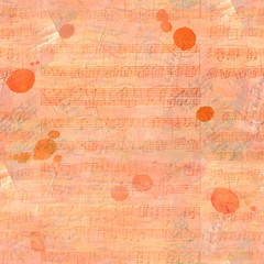 Seamless background pattern with sheet music and faded texts