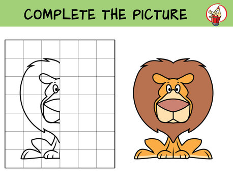 Funny lion sitting. Copy the picture. Coloring book. Educational game for children. Cartoon vector illustration