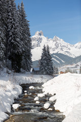 Fototapete - Beautiful winter scenery. Austrian Alps