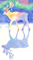 watercolor reindeer with nothern lights