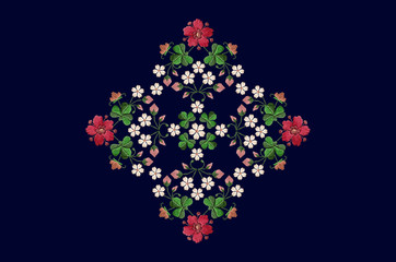 Rhomboid pattern for embroidery napkins with bouquets of flowers and clover leaves on dark blue background