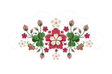 Embroidered pattern bouquet of red with white flowers and clover leaves on white background