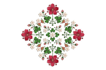 Rhomboid pattern for embroidery napkins with bouquets of flowers and clover leaves on white background
