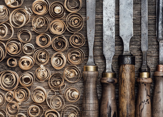 Carpentry tools on the workbench