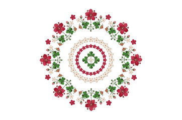Oval pattern wreath for embroidery with bouquets of flowers and clover leaves on white background