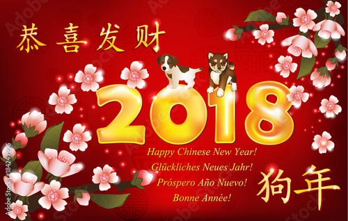 Happy chinese new year of the dog 2018 greeting card with text in happy chinese new year of the dog 2018 greeting card with text in chinese and english ideograms translation congratulations and get rich m4hsunfo