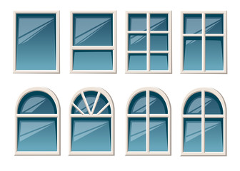 Vector collection of various white windows types for interior and exterior use flat style isolated on white background website page and mobile app design