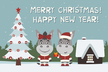 Merry Christmas and Happy New Year! Greeting card: two donkeys, boy and girl, with gift near Christmas tree.