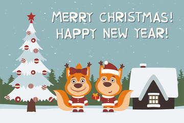 Merry Christmas and Happy New Year! Greeting card: two squirrels, boy and girl, with gift near Christmas tree.