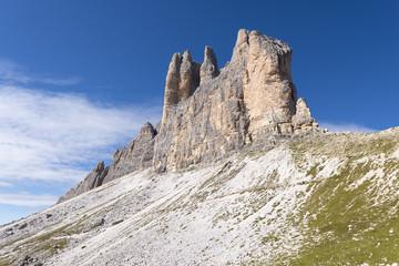 Italien, Dolomiten, Hochpustertal, Naturpark Drei Zinnen, die Drei Zinnen von Westen.