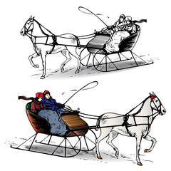 Couple riding a horse in a sleigh in winter, cartoon on white background,